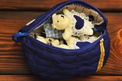 Stuffed toys on wooden background. Bears stock photo