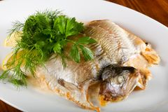 Stuffed trout. With mushrooms and sauce royalty free stock image