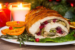 Stuffed turkey breast with baked vegetables and spices against holiday lights background. Stuffed turkey breast with baked vegetables and spices against holiday royalty free stock photos