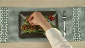 Stuffed vegetables served on a tray. stock footage
