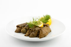 Stuffed vine leaves. Front view. White background. Selective focus Royalty Free Stock Image
