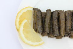 Stuffed Vine Leaves with Lemon Stock Photos