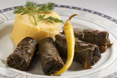 Stuffed vine leaves (sarmale). With polenta Royalty Free Stock Image