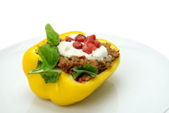 Stuffed yellow bell pepper Royalty Free Stock Photos