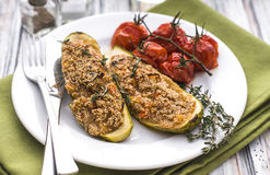 Stuffed zucchini with amaranth and vegetables Stock Photos