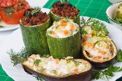 Stuffed zucchini and aubergine Royalty Free Stock Images