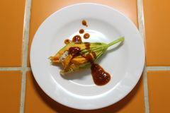 Stuffed Zucchini Blossom with Spicy Salsa Stock Photo