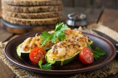 Stuffed zucchini with chicken Stock Photos