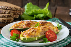 Stuffed zucchini with chicken Stock Photography