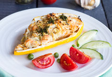 Stuffed zucchini with chicken and vegetables, horizontally Stock Image