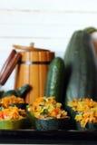 Stuffed zucchini dish Stock Photos