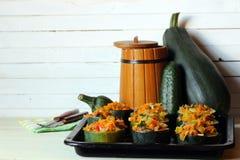 Stuffed zucchini dish Stock Photography