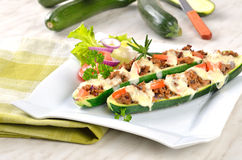 Stuffed zucchini halves Royalty Free Stock Images