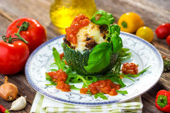 Stuffed zucchini with minced meat Stock Photography