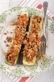 Stuffed zucchini with rice and minced meat filling Royalty Free Stock Image