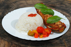 Stuffed zucchini, rice, stewed peppers and tomatoes, vegetables, Royalty Free Stock Photography