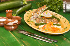 Stuffed Zucchini and tastefully served. Stock Photography