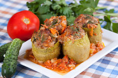 Stuffed zucchini in tomato sauce. On the plate Stock Photo