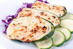 Stuffed zucchini with tuna and cheese Stock Photo