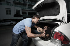 Stuffing a body in the trunk. Man stuffing a body in the trunk Royalty Free Stock Photography