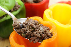 Stuffing colourful peppers horizontal Royalty Free Stock Images