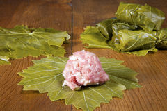 Stuffing Grape Leaves Royalty Free Stock Photo