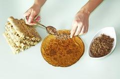 Stuffing pancake Royalty Free Stock Image