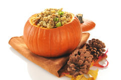 Stuffing in a pumpkin Royalty Free Stock Image