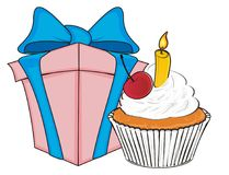 Stuffs fot birthday. Gift with cupcake on a white background Royalty Free Stock Photography