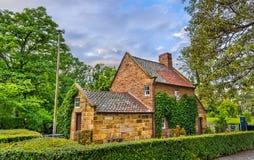 Stuga för ` s för kapten Cook i den Fitzroy trädgården - Melbourne, Australien Royaltyfri Fotografi