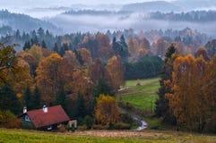 Stuga nära Jetrichovice, bohem Schweiz, Tjeckien Fotografering för Bildbyråer