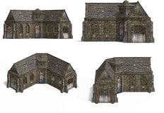 stugan houses medeltida Royaltyfri Foto