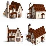 stugan houses medeltida Royaltyfri Fotografi