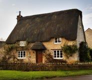 stugan thatched byn Royaltyfri Bild