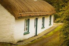 stugan thatched traditionellt Ståndsmässiga Donegal ireland royaltyfria bilder