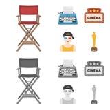 Stuhl des Direktors, Schreibmaschine, Filmschild, Filmmann Filme und gesetzte Sammlungsikonen des Kinos in der Karikatur Stockbild