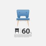 Stuhl im flachen Design für Wohnzimmerinnenraum Minimale Ikone für Möbelverkaufsplakat Blauer Stuhl auf weißem Hintergrund Stockbilder