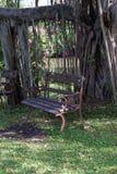 Stuhl im Garten Stockbild