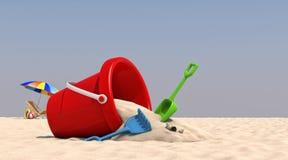 Stuhl-Regenschirm der Illustrations-3D auf dem Strand Stockbilder