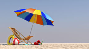 Stuhl-Regenschirm der Illustrations-3D auf dem Strand Lizenzfreies Stockbild