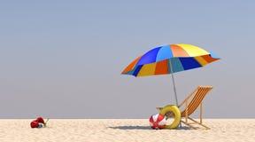 Stuhl-Regenschirm der Illustrations-3D auf dem Strand Stockfotos