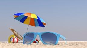 Stuhl-Regenschirm der Illustrations-3D auf dem Strand Stockfotografie