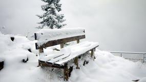 Stuhl und der Schnee Stockbild