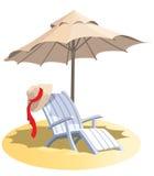 Stuhl und Regenschirm Stockfotos