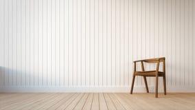 Stuhl und weiße Wand mit vertikalen Streifen Stockbild