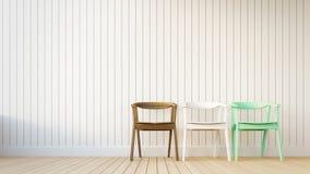 Stuhl 3 und weiße Wand mit vertikalen Streifen Lizenzfreies Stockbild