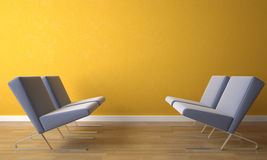 Stuhl vier auf gelber Wand Stockbilder