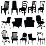 Stuhlkunst-Vektorillustration in der schwarzen Farbe Lizenzfreies Stockbild