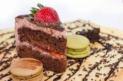 Stuk chocoladecakes Royalty-vrije Stock Foto's