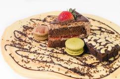 Stuk chocoladecakes Stock Afbeeldingen
